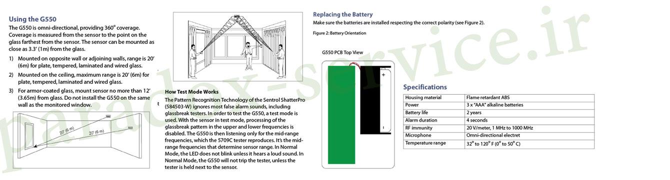 سنسور شکست شیشه بی سیم g550 دزدگیر شرکت پارادوکس کانادا paradox سنسور شکست شیشه بی سیم G550 دزدگیر شرکت پارادوکس کانادا PARADOX paradox Service G550 Banner install